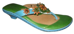 Børn Leather Thong Flower blue & green Sandals