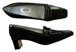 Talbots Made In Spain Genuine Leather Suede Buckle Lacquered Detail Black Pumps