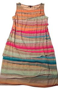 Boho Chic short dress multi colored with pinks, greens, peaches and grey Summer Sleeveless on Tradesy