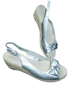 Boden Espadrilles Peep-toe Sling-backs Silver Wedges