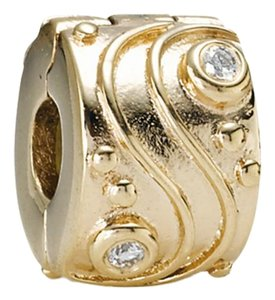 PANDORA Rare Retired authentic 750418d 14k Charm Clip Babbling Brook diamond