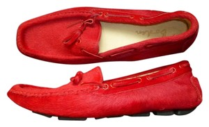 Boden Calf Hair Cowhide Leather Red Flats