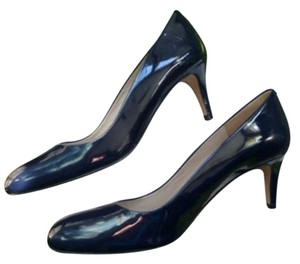 Boden Made In Spain Mid Heel Navy Genuine Leather Lacquered Navy Blue Pumps
