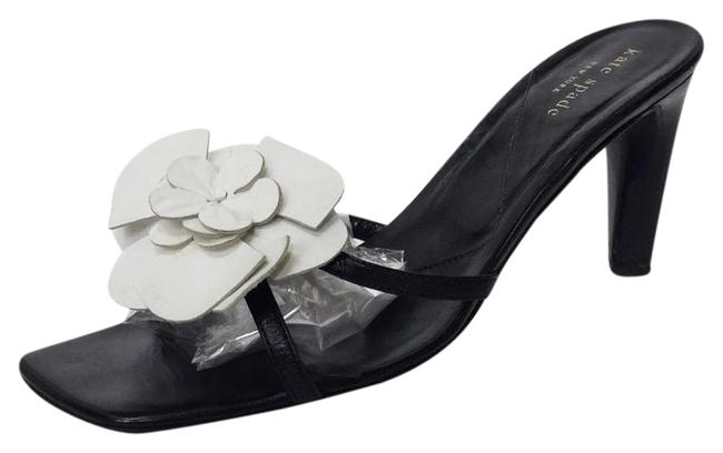 Item - Black / White Leather with Floral Detail Sandals Size US 8 Regular (M, B)