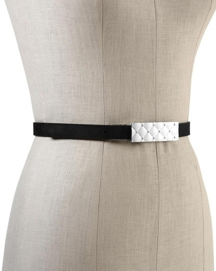White House | Black Market Reversible Patent/Suede Quilted Crystal Buckle Skinny Belt XXS