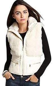 Guess Fur Leather Gold Motorcycle Vest