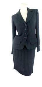 Sonia Rykiel Sonia Rykiel Woman Designer Black Pin Striped 2-Piece Suit-Skirt Euro Size 38