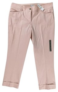 New York & Company Cropped Stretch Cuffed Ankles Capris Pink