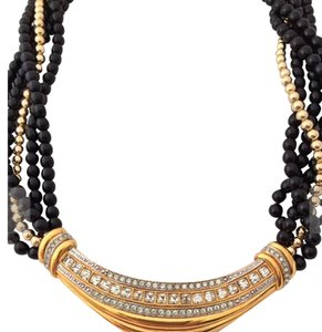 Lanvin Lanvin Germany Signed Unique Bibb Goldtone Beaded Necklace