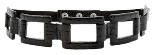 White House | Black Market Patent Croc-Embossed Open Link Stretch Snap Belt XS