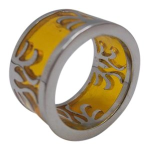 Yellow Glass Stainless Steel Ring