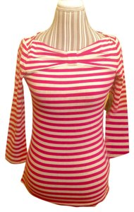 Kate Spade Stretchy Comfortable Pink Pinstripe Top Pink, White