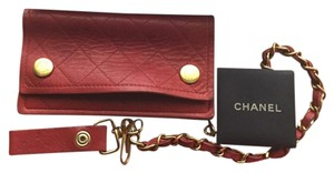 Chanel Quilted Wallet Chain Red Clutch