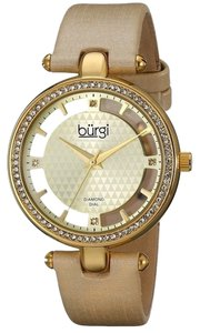 Burgi Burgi Women's Gold-tone Diamond and Crystal-Accented Watch with Gold Satin Band