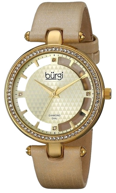 Item - Gold Women's Gold-tone Diamond and Crystal-accented with Satin Band Watch