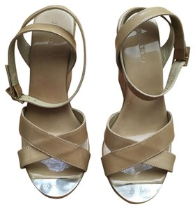 Jimmy Choo Platform Papyrus Patent Leather Nude Wedges
