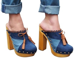 Shellys London Denim/Leather fringe tassels Mules