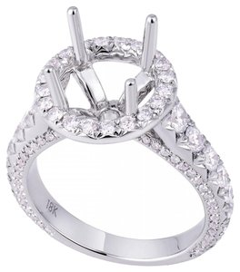 Avi and Co 1.45 cttw Round Diamond Pave Halo Engagement Semi-Mounting 18K White Gold