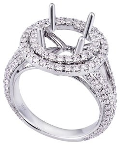 Avi and Co 1.40 cttw Round Diamond Double Halo Engagement Semi-Mounting 18K White Gold