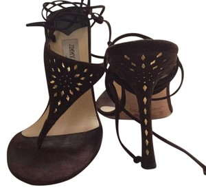 Jimmy Choo Coffee Perforated Suede Sandals