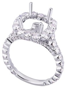 Avi and Co 1.75 cttw Round Cut Diamond Pave Halo Engagement Semi-Mounting 18K White Gold