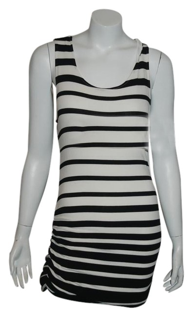 Item - Black/White L 62 Sleeveless T Shirt Ruched Above Knee Cocktail Dress Size 12 (L)