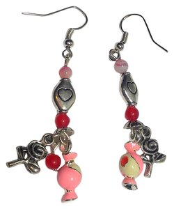 New Candy Charm Earrings Silver Tone Pink White J2491