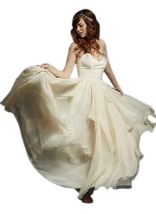 Rebecca Schoneveld Soft Blush Silk Crepe and Silk Chiffon Evalyn-sierra Feminine Wedding Dress Size 8 (M)