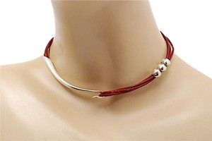 Sterling Silver/Red Leather Cord Choker Necklace w/Sterling Hook+Bead 14.5