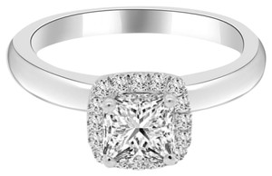 Avi and Co 1.24 cttw Princess Cut Diamond Halo Engagement Ring 18K White Gold