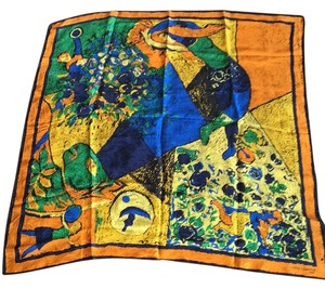 Roger Laurent Silk Vibrant Large Square Scarf Handrolled Edges