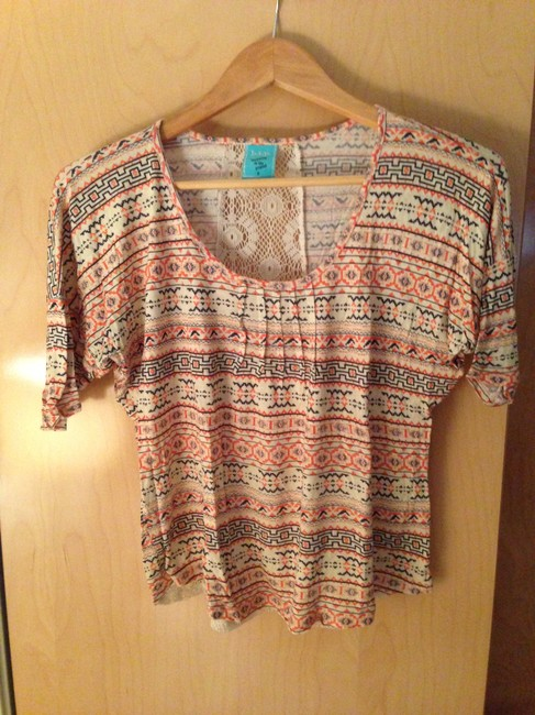 H.I.P. Open Back Lace Back Lace Pattern American Indie Festival Aztec Top Multi