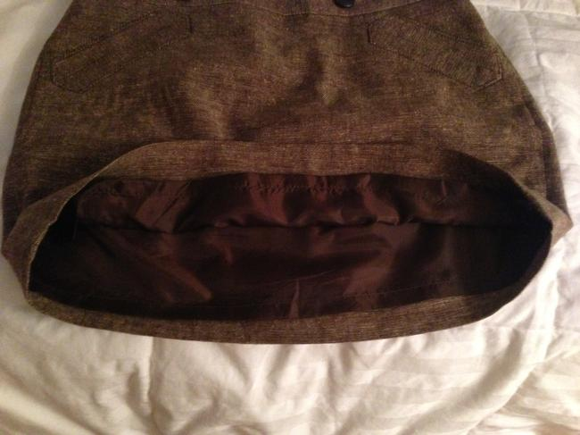 The Limited Tweed Chocolate Slanted Pockets Side Zipper Fully Lined Mini Skirt Brown