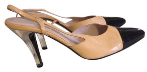 Chanel Vintage Captoe Heels Clear Beige/Black/Clear Pumps