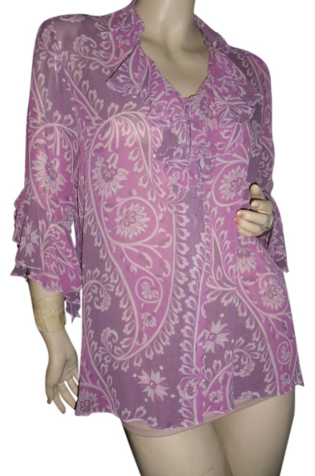 3caf0d1b87d61 Bob Mackie Lavender Purple Wearable Art Blouse Ruffled Neck Sleeves Silk  Chiffon Button-down Top