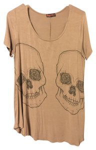 Modcloth Tunic Flowy T Shirt Taupe Black Skulls
