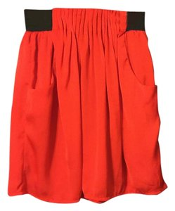 Francesca's Mini Pockets Mini Skirt Bright Red Black