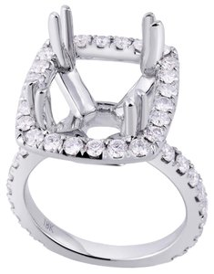 Avi and Co 1.60 cttw Round Diamond Pave Halo Engagement Semi-Mounting 18K White Gold