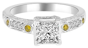 Avi and Co 1.54 cttw Princess Cut Diamond Pave Accented Engagement Ring 18K White Gold