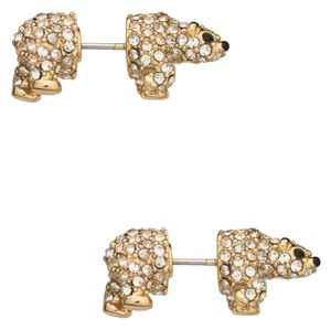 Kate Spade NEW Kate Spade New York Cold Comforts Polar Bear Glass Crystal & Gold Studs Earrings - 12k Gold