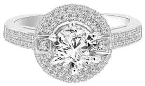 Avi and Co 1.90 cttw Round Brilliant Cut Diamond Halo Engagement Ring 18K White Gold