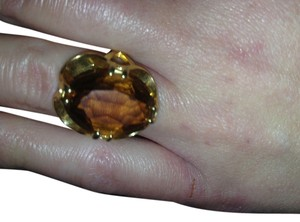 Breathtaking giant vintage orange topaz 18ktgf cocktail ring