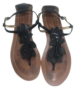 Coach Patent Leather Black Sandals