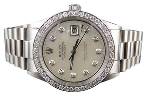 Rolex Mens Stainless Steel Rolex Datejust Presidential Mm Mother Pearl Watch 2.50 Ct