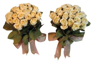 Other Twin Potted Ivory Silk Rose Arrangements - [ Roxanne Anjou Closet ]