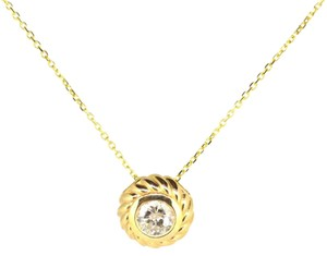 Other 14K Yellow Gold 0.56CT Diamond Round Pendant Necklace 3.4 Grams 16