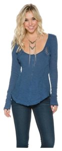 Free People Henley Longsleeve Cotton Crochet Top NAVY