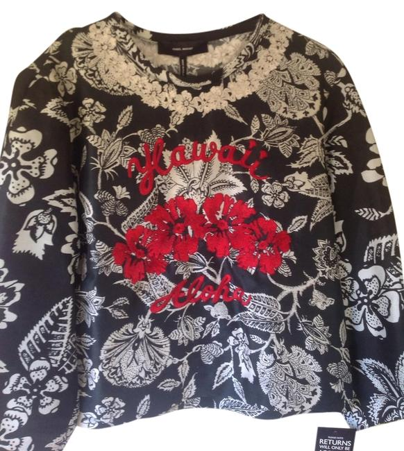 Isabel Marant Top Black and White with Red Detail