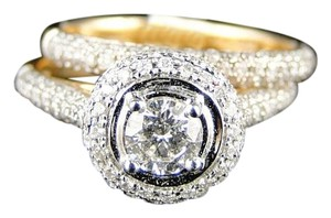 14k Ladies Womens Yellow Gold Diamond Bridal Engagement Halo Style Ring Set