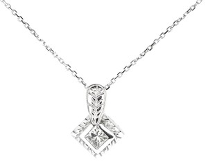 Other 14K White Gold 0.31 Ct Diamond Pendant Necklace 3.7 Grams 16